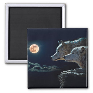 Wolf Wolves Howling at the Full Moon 2 Inch Square Magnet