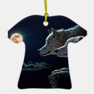 Wolf Wolves Howling at the Full Moon Double-Sided T-Shirt Ceramic Christmas Ornament