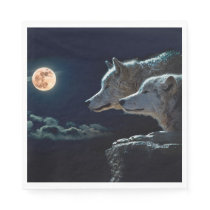 Wolf Wolves Howling at the Full Moon Paper Napkin