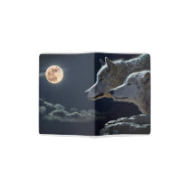 Wolf Wolves Howling at the Full Moon Passport Holder