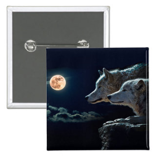 Wolf Wolves Howling at the Full Moon Pinback Button