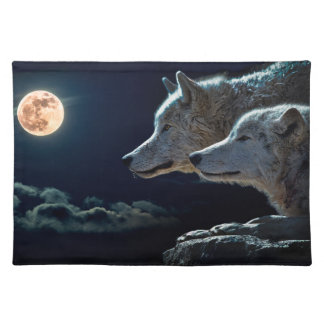 Wolf Wolves Howling at the Full Moon Cloth Place Mat