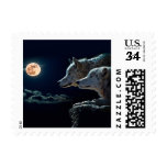 Wolf Wolves Howling at the Full Moon Postage