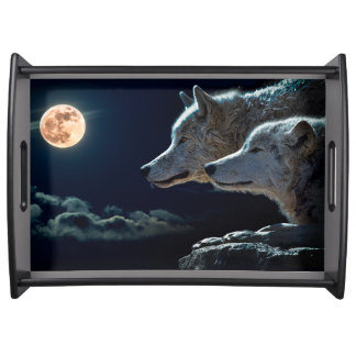 Wolf Wolves Howling at the Full Moon Serving Tray