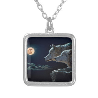 Wolf Wolves Howling at the Full Moon Silver Plated Necklace