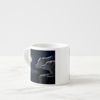 Wolf Wolves Howling at the Full Moon 6 Oz Ceramic Espresso Cup