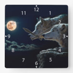 Wolf Wolves Howling at the Full Moon Square Wall Clock