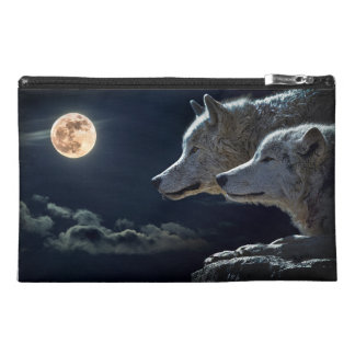 Wolf Wolves Howling at the Full Moon Travel Accessory Bags