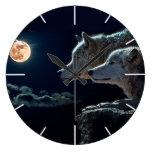 Wolf Wolves Howling at the Full Moon Wallclocks