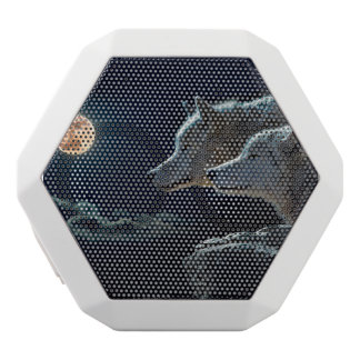 Wolf Wolves Howling at the Full Moon White Bluetooth Speaker