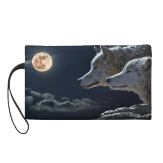 Wolf Wolves Howling at the Full Moon Wristlet