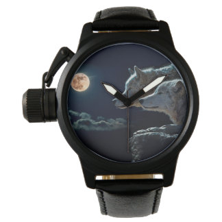 Wolf Wolves Howling at the Full Moon Wristwatch