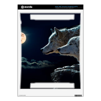 Wolf Wolves Howling at the Full Moon Xbox 360 Console Decal