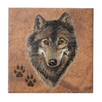 Wolf, Wolves,  Nature, Wildlife, Watercolor Animal Ceramic Tile