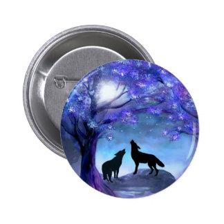 Wolf Wolves Wildlife Animals Blue Button