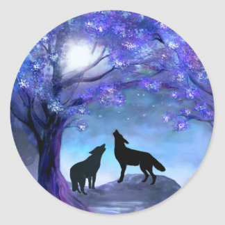 Wolf Wolves Wildlife Animals Blue Stickers