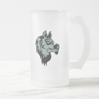 wolfbeast frosted glass beer mug