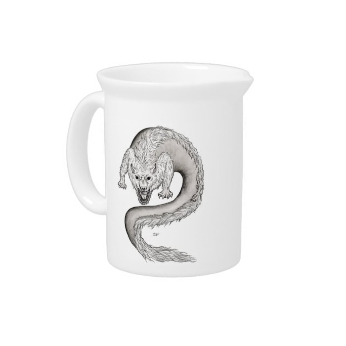 Wolfdragon black and white Design Drink Pitcher