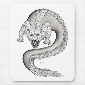 Wolfdragon black and white Design Mouse Pad