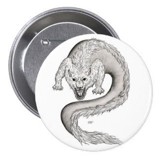 Wolfdragon black and white Design Pinback Button