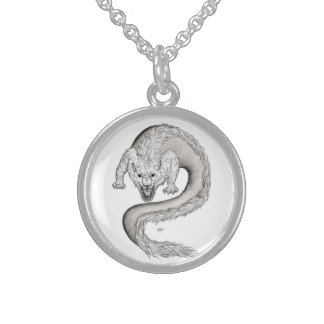 Wolfdragon black and white Design Sterling Silver Necklace