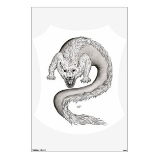 Wolfdragon black and white Design Wall Sticker