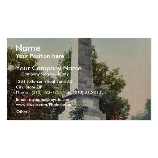 Wolfe and Montcalm monument, Quebec rare Photochro Business Card Template