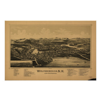 Wolfeboro New Hampshire 1889 Antique Panoramic Map Poster