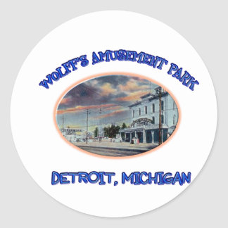 Wolff s Amusement Park Round Sticker
