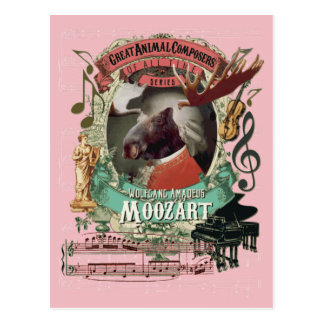Wolfgang Amadeus Moozart Moose Animal Composer Postcard