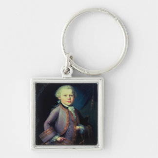 Wolfgang Amadeus Mozart , 1763 Silver-Colored Square Keychain