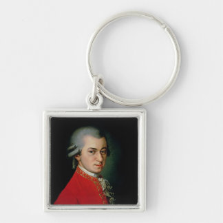 Wolfgang Amadeus Mozart, 1818 Silver-Colored Square Keychain