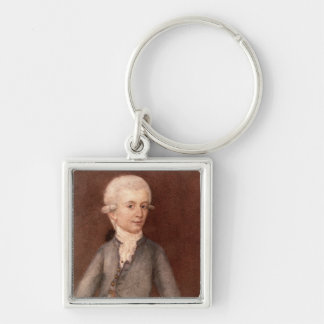 Wolfgang Amadeus Mozart, c.1780 Silver-Colored Square Keychain
