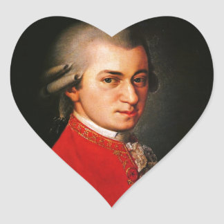Wolfgang Amadeus Mozart portrait Heart Stickers