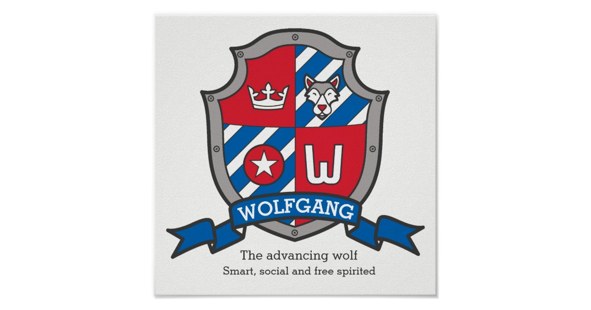 Wolfgang boys name meaning heraldry shield poster | Zazzle com
