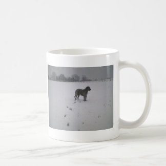 Wolfhound in snow coffee mugs
