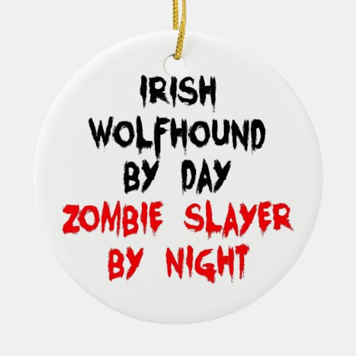 Wolfhound irlandés del asesino del zombi del día p adorno de navidad