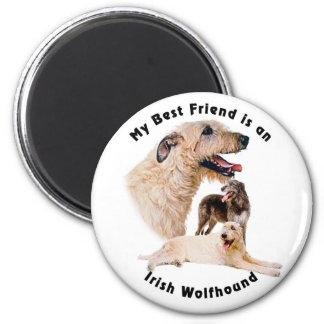 Wolfhound irlandés del mejor amigo imán redondo 5 cm