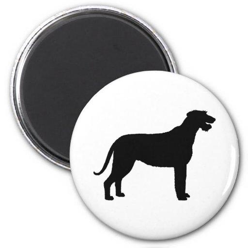 Wolfhound irlandés (en negro) imán redondo 5 cm