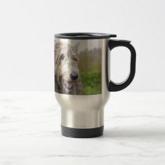 Wolfhound irlandés lindo taza de viaje de acero inoxidable