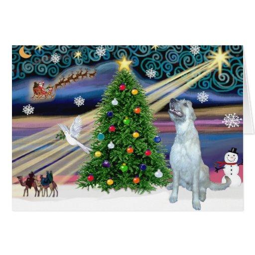 Wolfhound irlandés mágico del navidad felicitacion