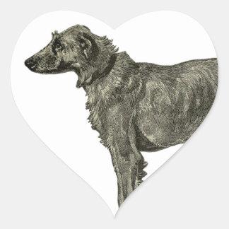 Wolfhound irlandés pegatina en forma de corazón