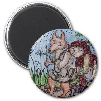 Wolfie Goes For a Walk Ukrainian Folk Art 2 Inch Round Magnet