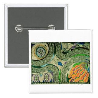 "Wölfli ""Saint Mary Castle"" Fine Art 2 Inch Square Button"