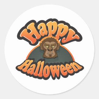 Wolfman Halloween design Classic Round Sticker