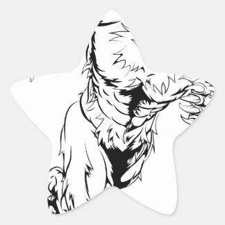 Wolfman mascot sprinting star sticker