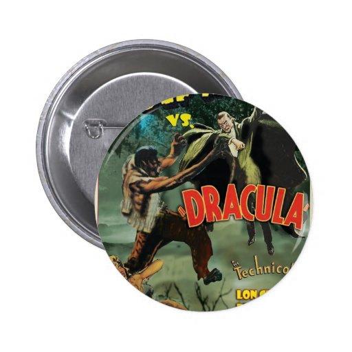 WOLFMAN VS DRACULA by Philip J. Riley Pinback Button