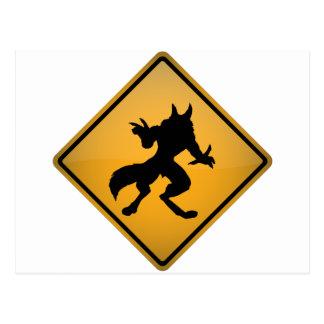 Wolfman Warning Sign Postcard