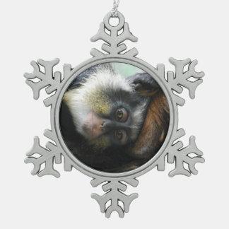 Wolf's Guenon Monkey Snowflake Pewter Christmas Ornament