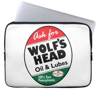 Wolf's Head Motor Oil vintage sign reproduction Computer Sleeve